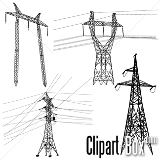 CLIPART ELECTRIC POLES SET.