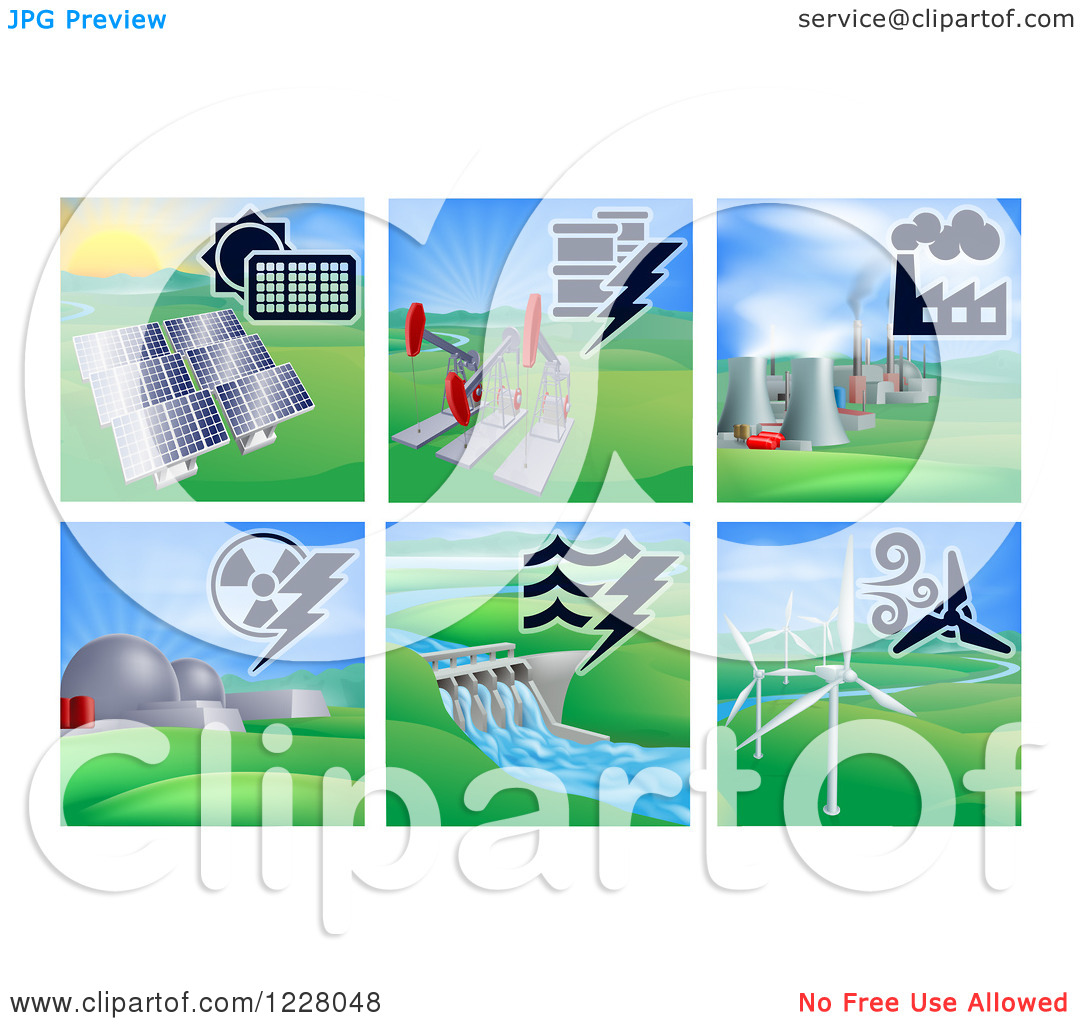 Clipart of Different Energy Power Plants.