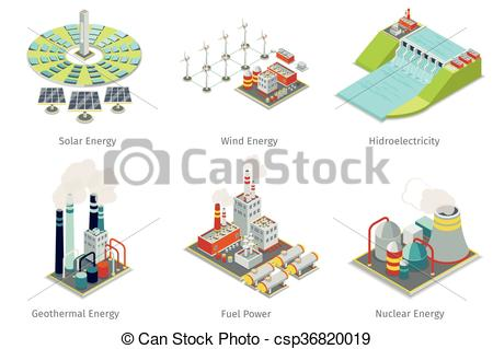 Vector Clip Art of Power plant icons. Electricity generation.