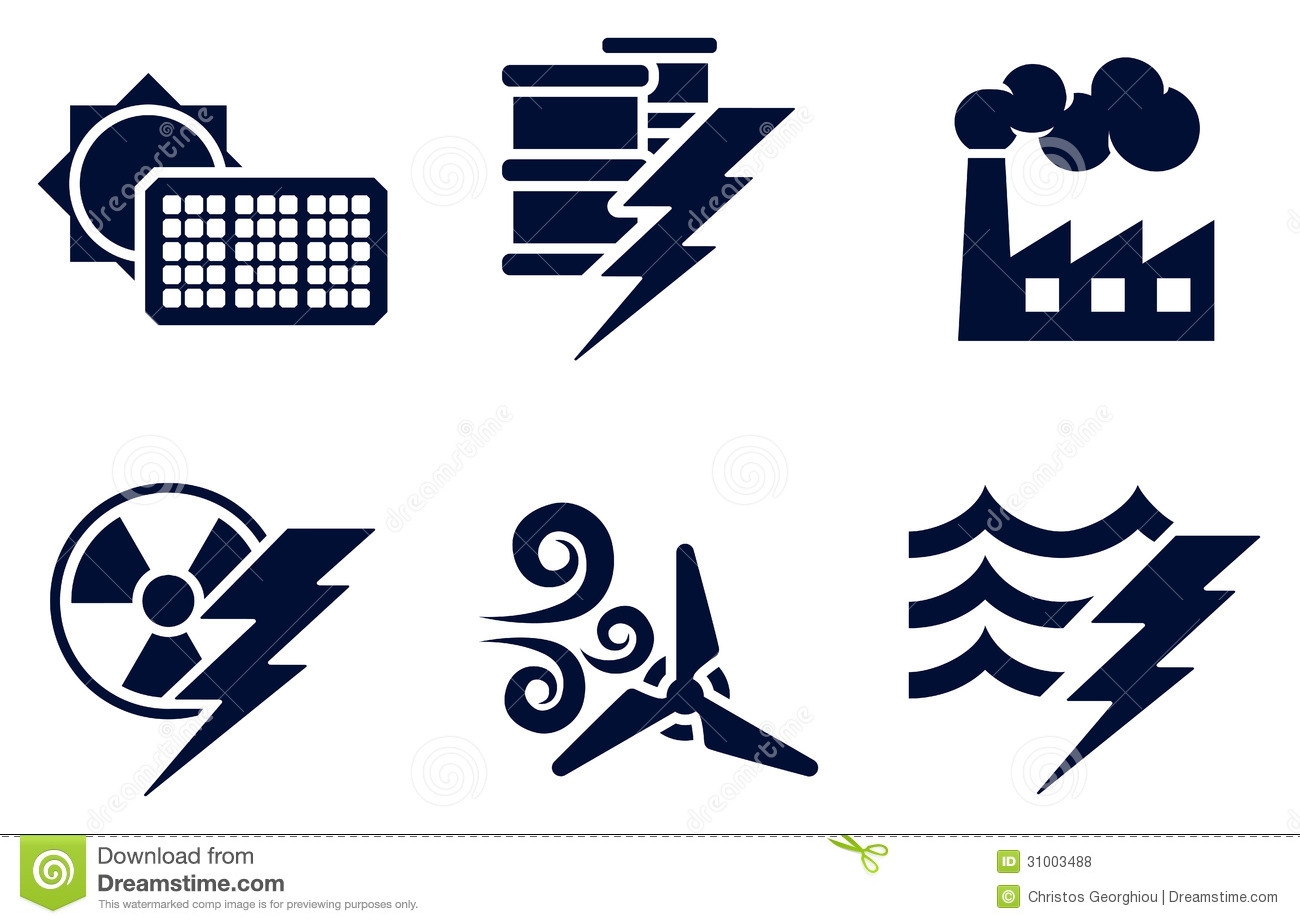 Power And Energy Icons Royalty Free Stock Photos.