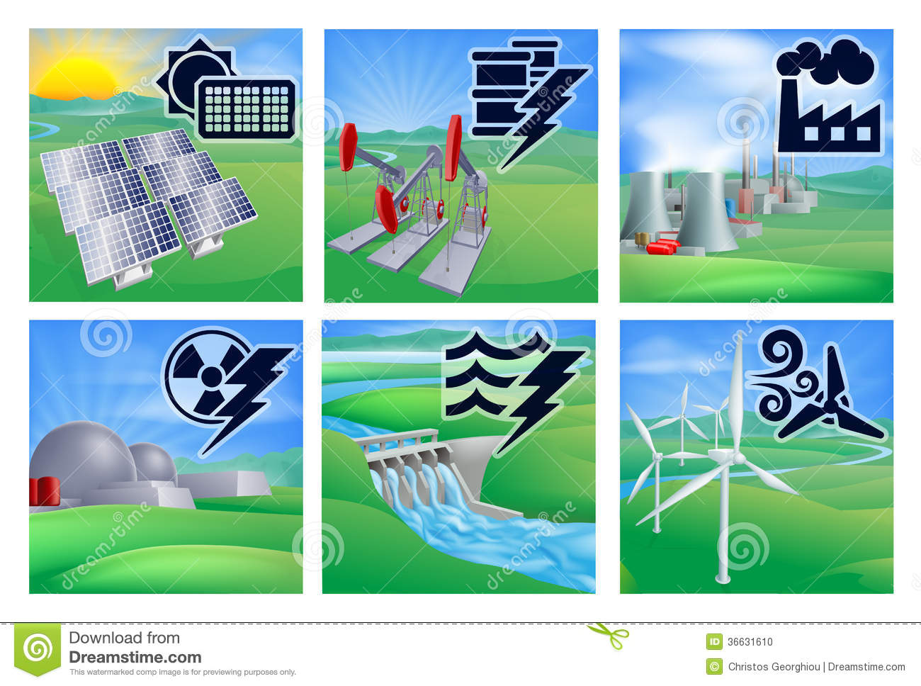 Power And Energy Icons Stock Photo.