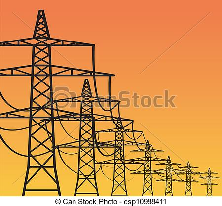 Vector Clip Art of Electricity Pylons.