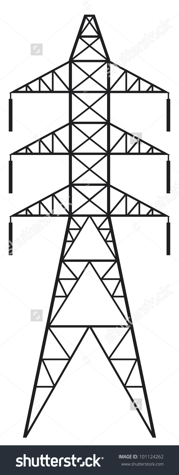 Silhouette Power Line Electric Pylon Stock Illustration 101124262.