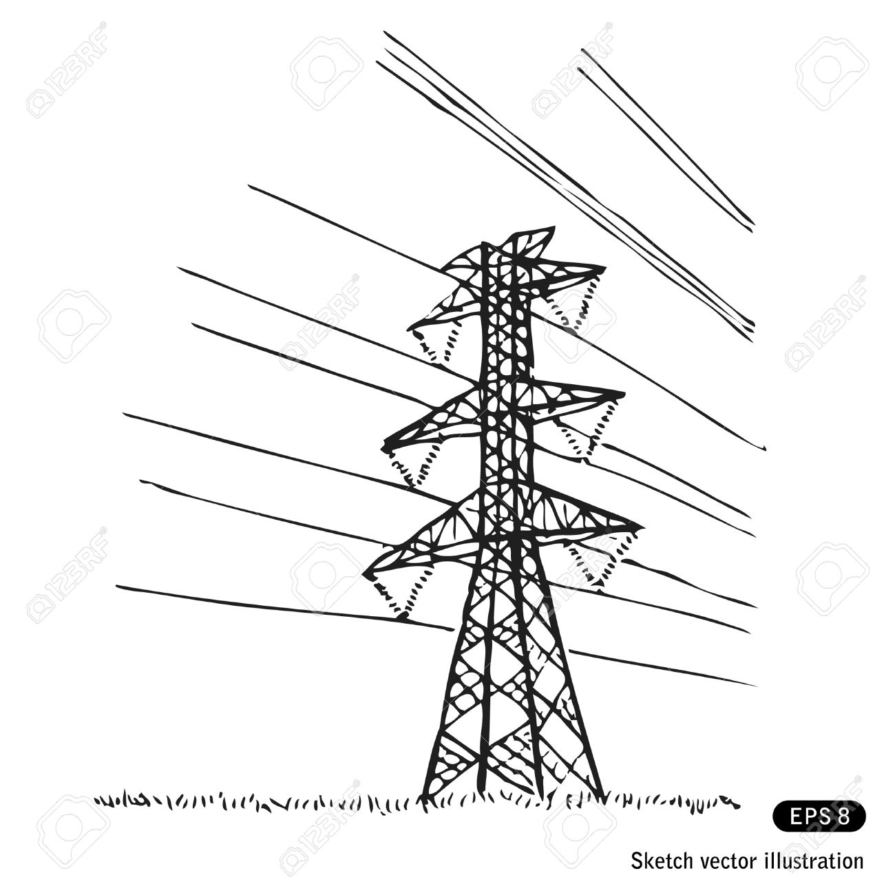 Power Lines. Hand Drawn Isolated On White Royalty Free Cliparts.