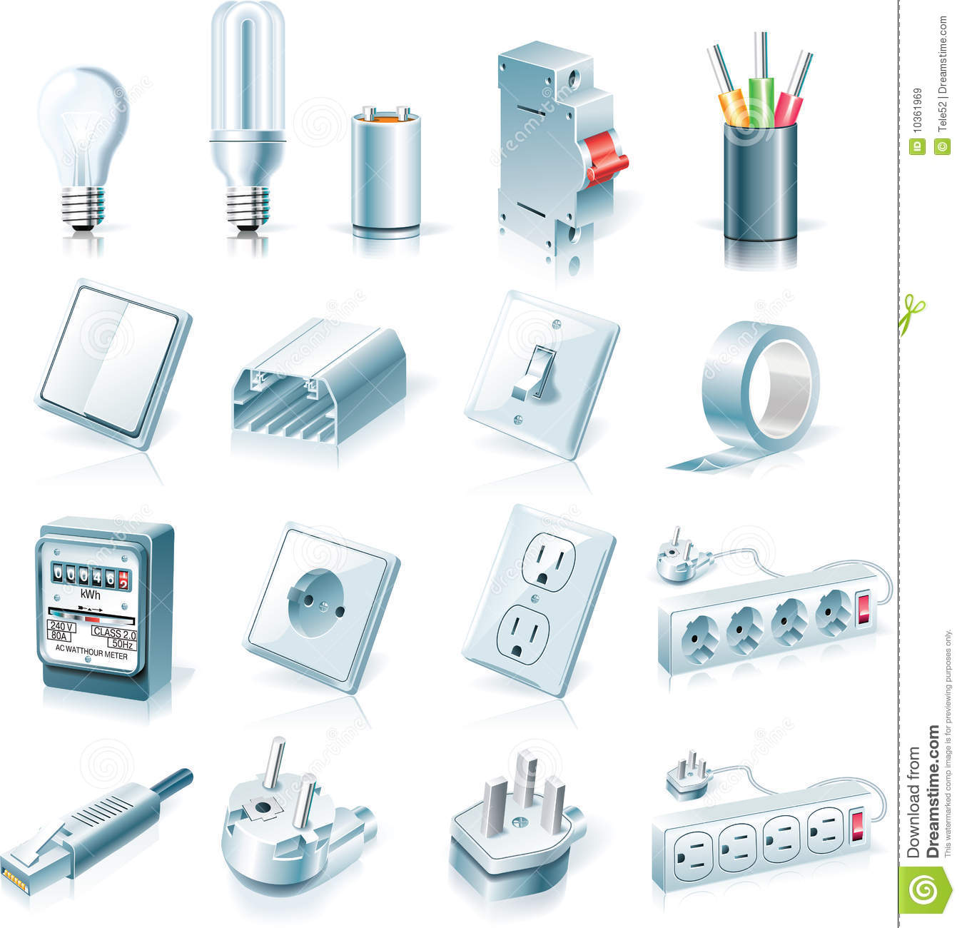Vector Electrical Supplies Icon Set Royalty Free Stock Images.