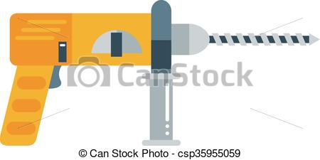 Clipart Vector of Drill hand tool flat electro tools.