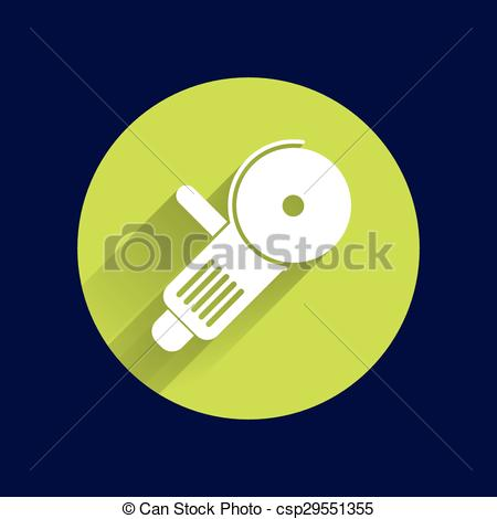 Clipart Vector of Simple icon angle grinder electro vector work.