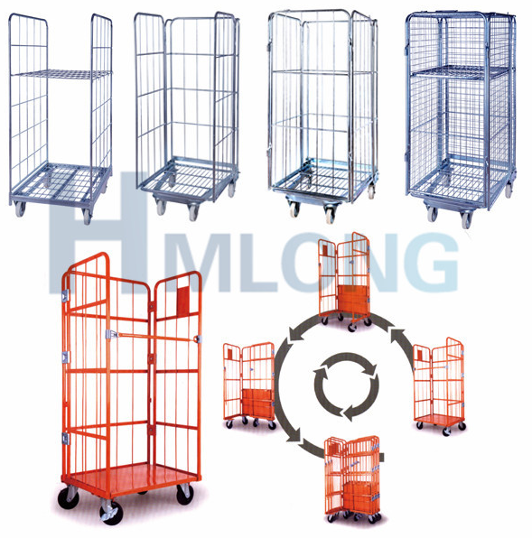 Nestable Wire Mesh Rolling Cage Pallet.