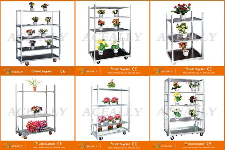 American Market Welding Mesh Plant Nursery Flower Trolley Cart.