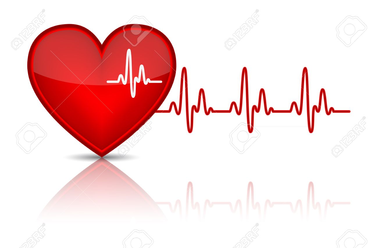 Illustration Of Heart With Heartbeat, Electrocardiogram Vector.