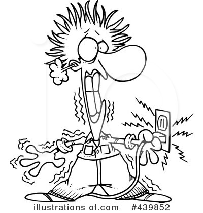 Man electrocuted clipart black white.