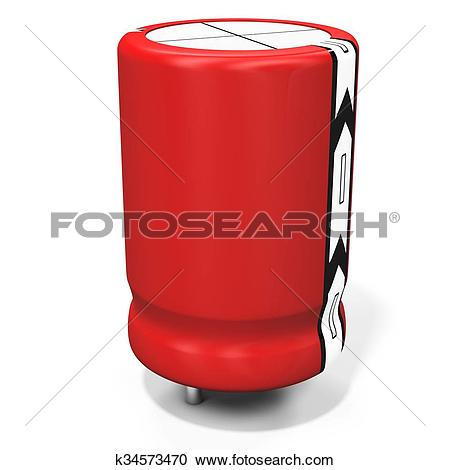 Stock Illustrations of 3d detailed electrolytic capacitor.
