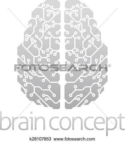 Clipart of Abstract electronic brain k28107853.