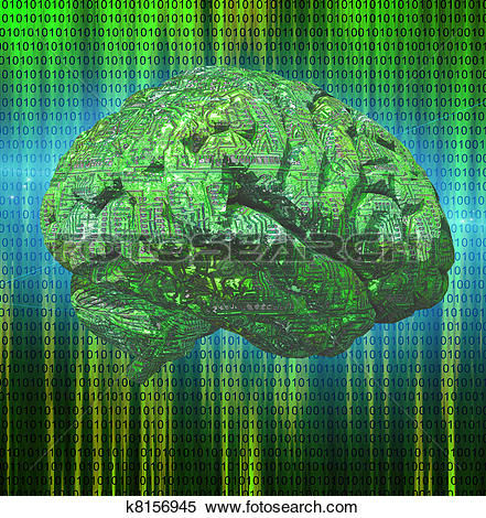 Stock Illustration of Electronic Brain k8156945.