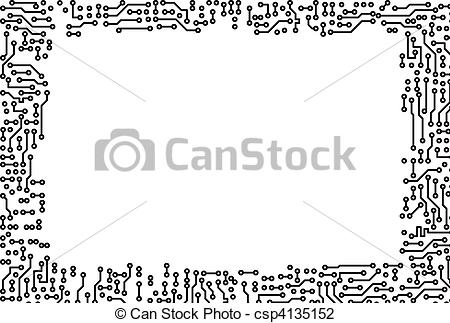 Clip Art of Frame made of electronic components.