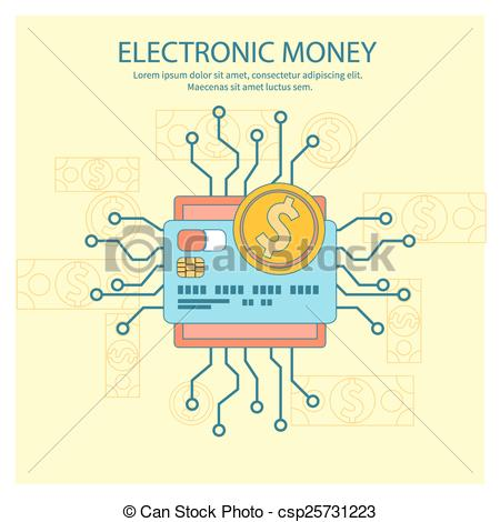 Vector Illustration of Electronic money concept.