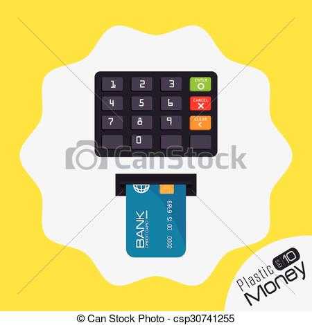 Clipart Vector of Plastic money and electronic payment design.