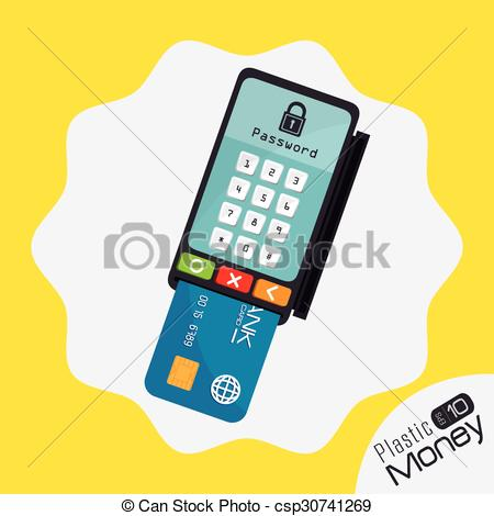 Clip Art Vector of Plastic money and electronic payment design.