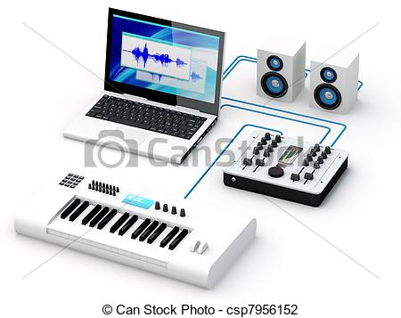 Clip Art of Home Recording Studio Equipment.