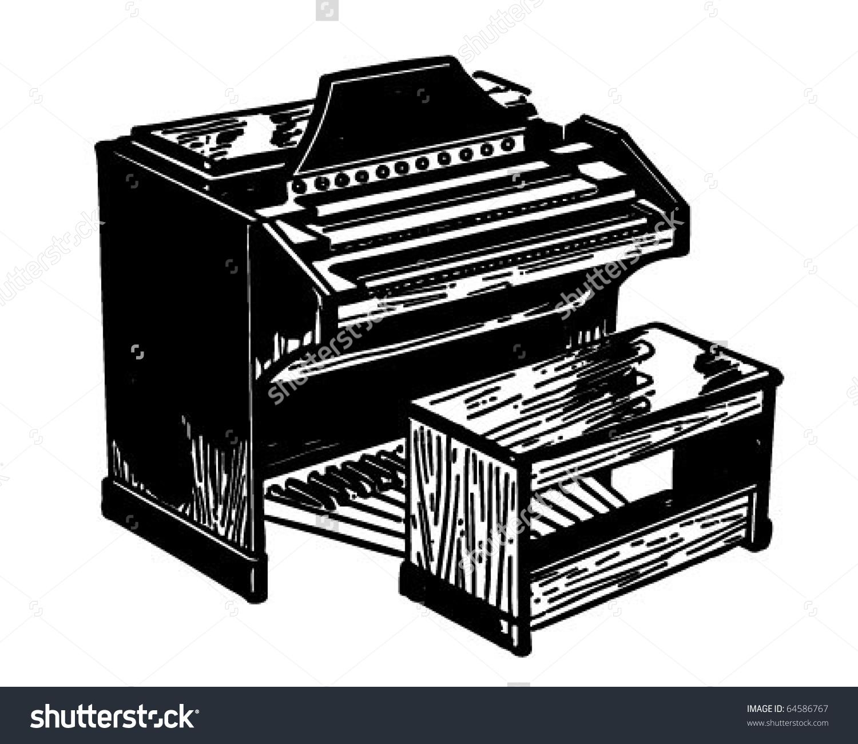 Electric Organ Retro Clipart Illustration Stock Vector 64586767.