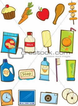 Image 2194246: Grocery and electronic product vector from Crestock.