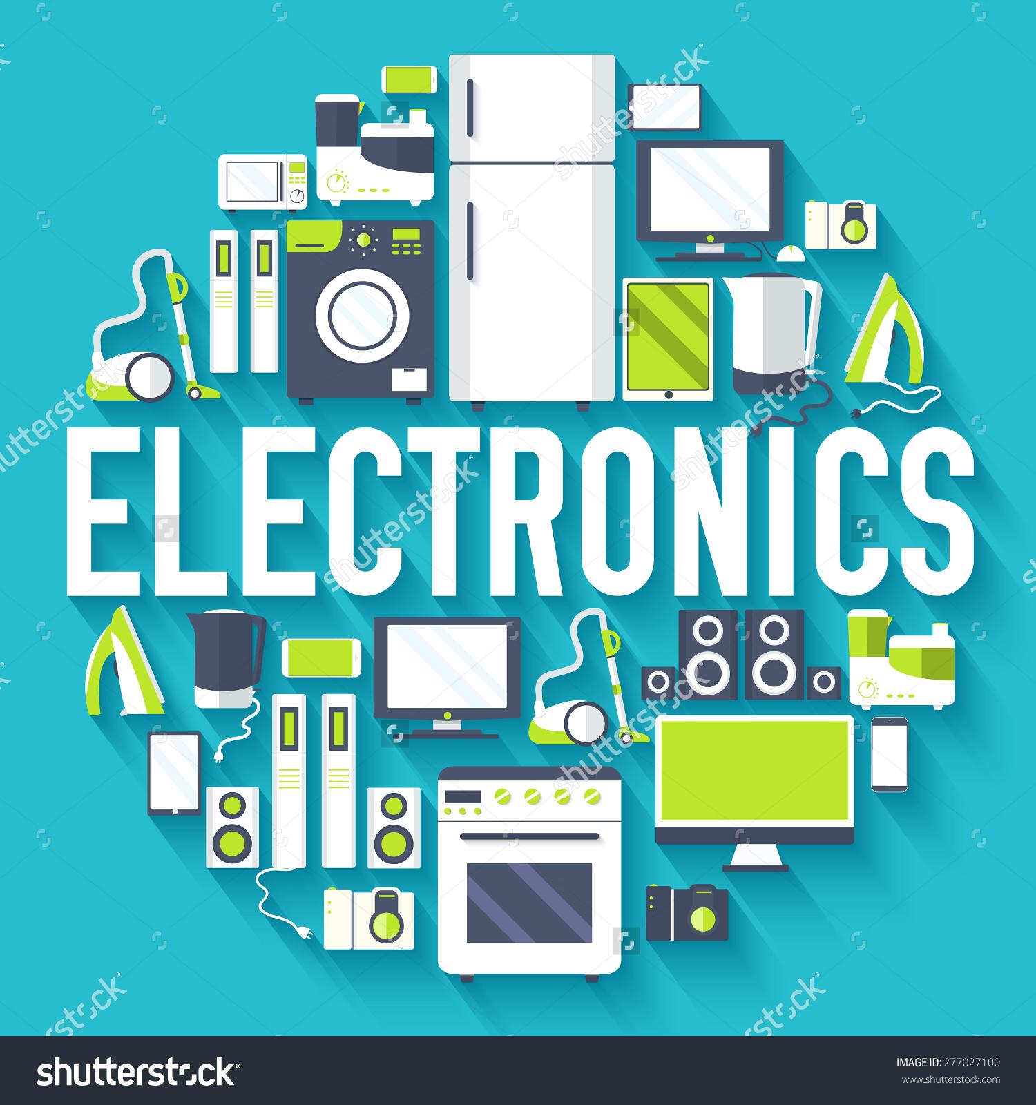 Home Electronics Appliances Circle Infographics Template Stock