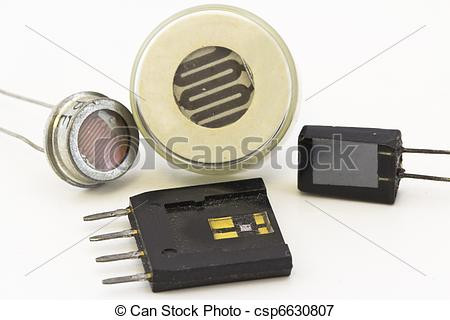 Picture of different types of sensors, semiconductor sensors.