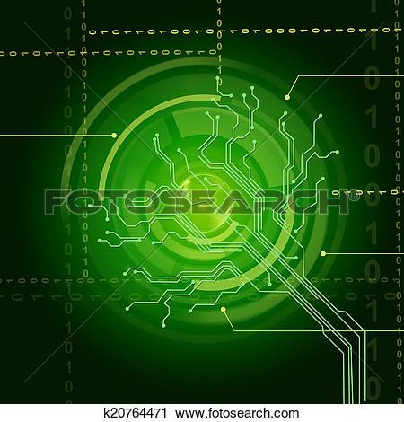 Clipart of Electronic Sensor Background Shows Illuminated Eye.