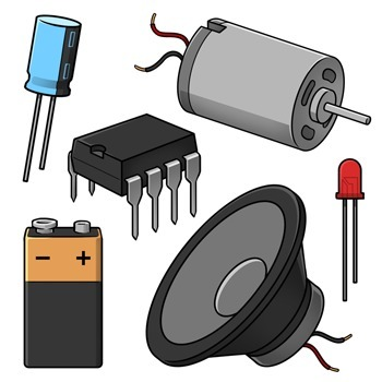 Electronic Components and Symbols Clip Art.