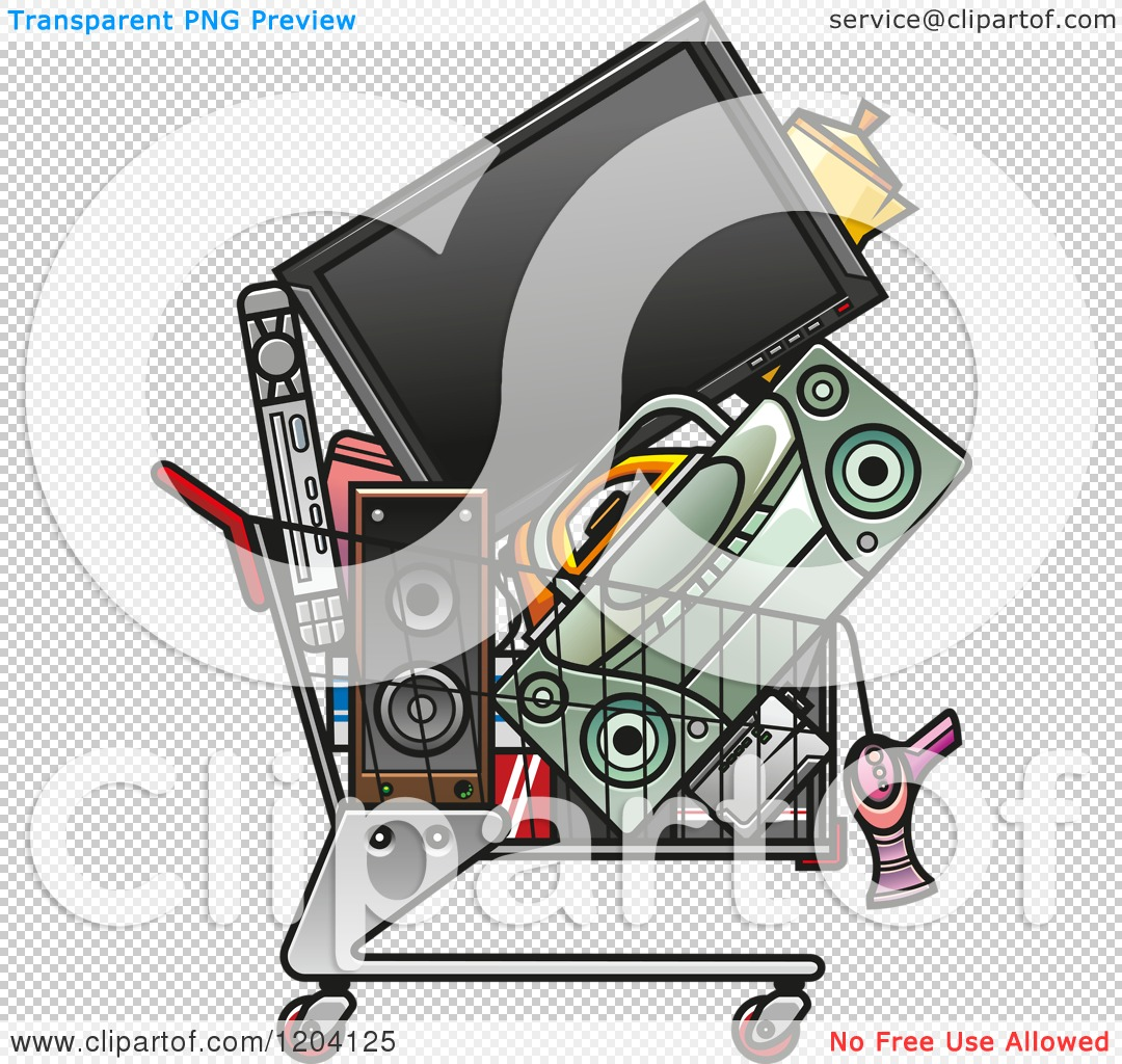Clipart of a Shopping Cart Full of Electronics.