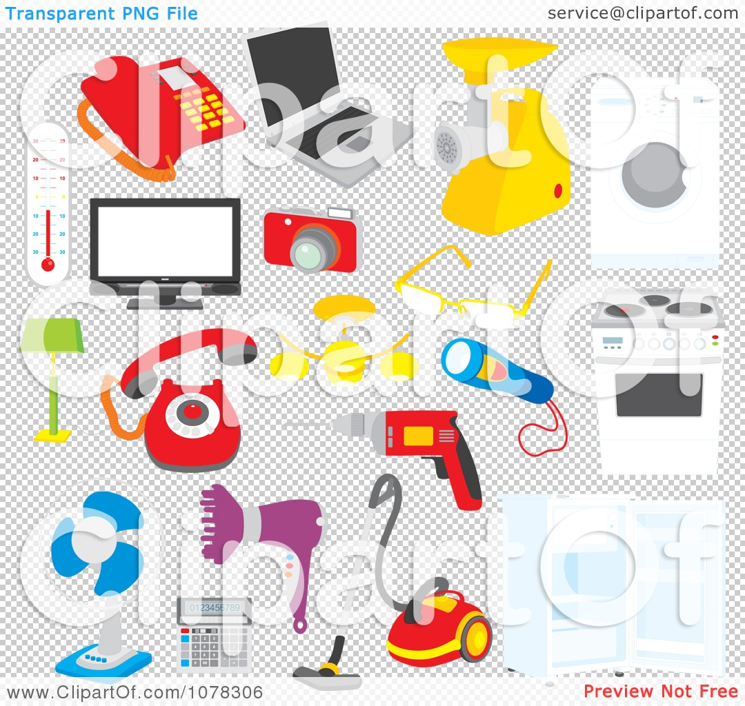 Clipart Set Of Electronics Appliances And Tools.