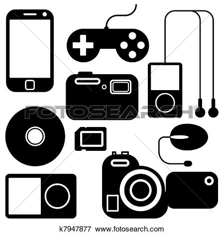 Clipart of Icon set of electronic gadgets k9050474.