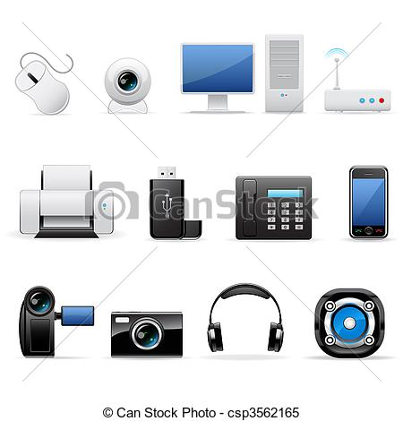 Clipart Vector of Computers and electronics icons.