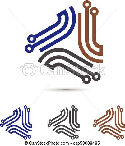 Digital electronics logo design symbol.