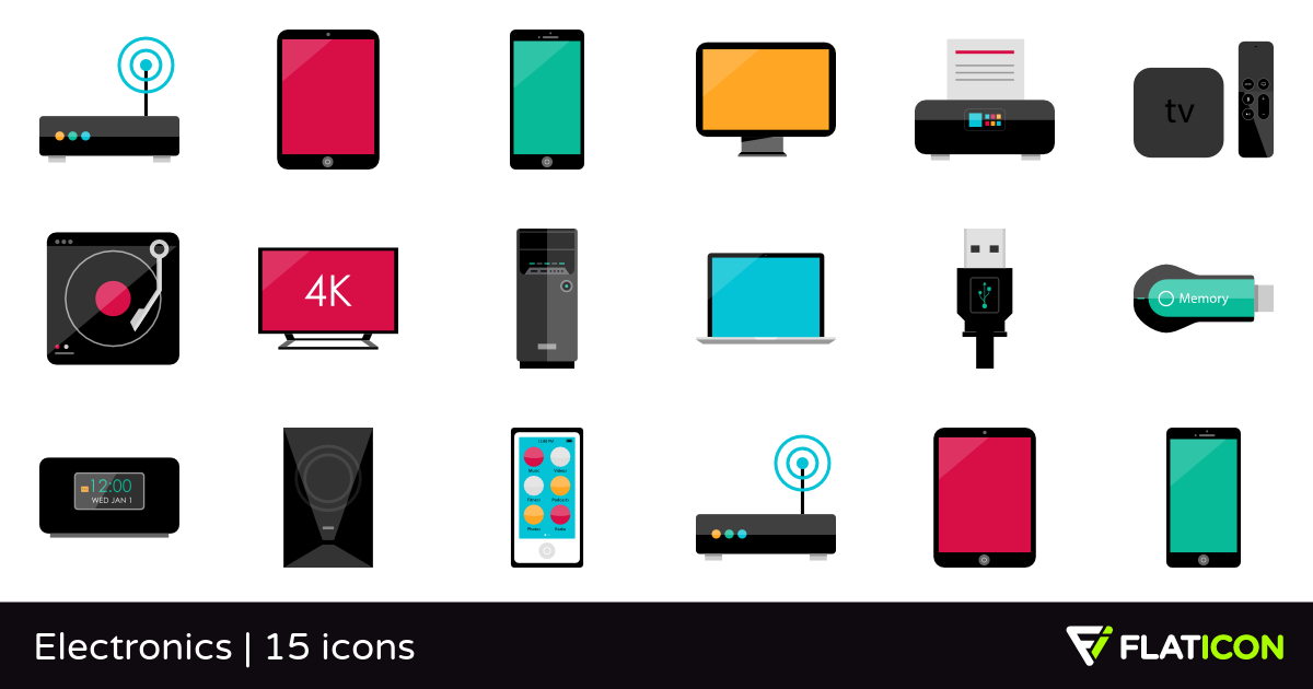 Electronics 15 free icons (SVG, EPS, PSD, PNG files).