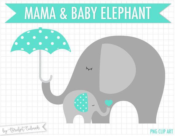 Elephant clip art Baby elephant clipart by MagicPixelsStudio.