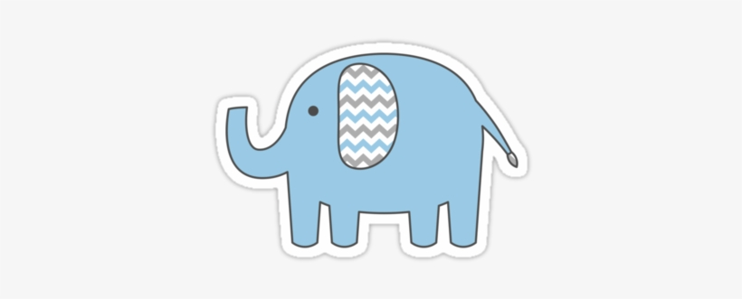 &rsaquo Baby Elephant Sticker With Blue And Gray Chevron.