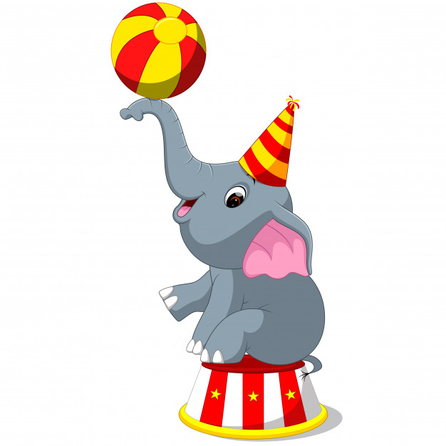 Cute circus elephant with a striped ball Vector.