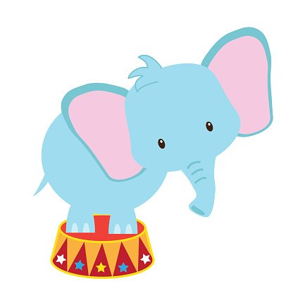Circus elephant vector illustration Clipart Image.