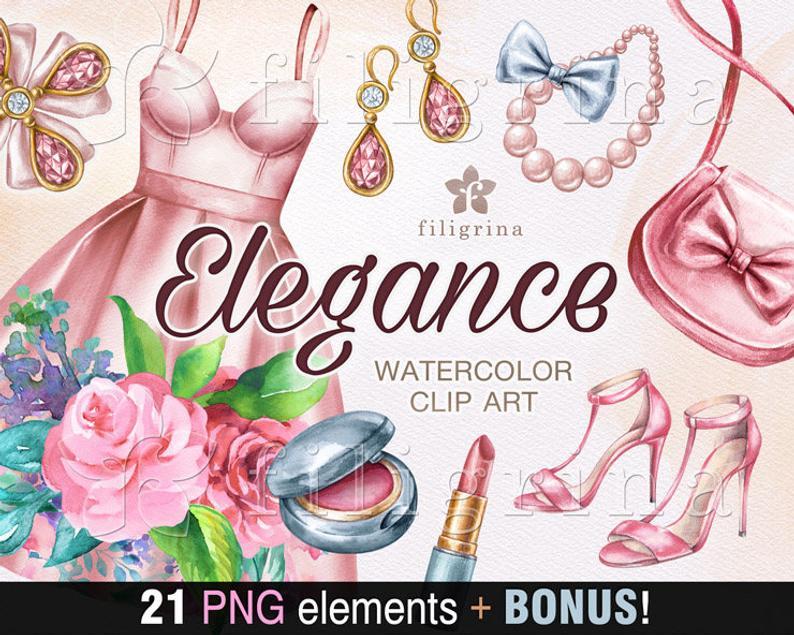 ELEGANCE Watercolor Clip Art. 21 elements. Shabby chic.