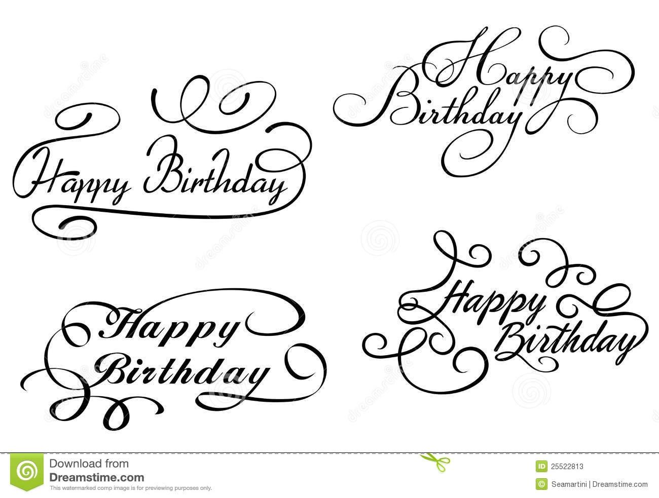Elegant Happy Birthday Clip Art.