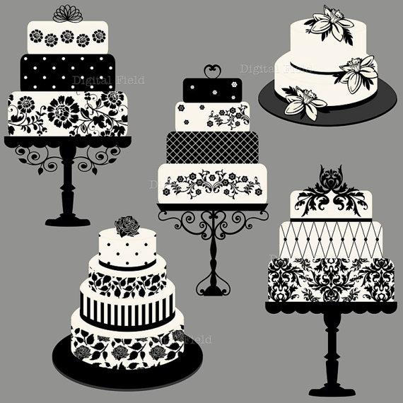 Elegant Wedding or Birthday Cake Clip Art set.