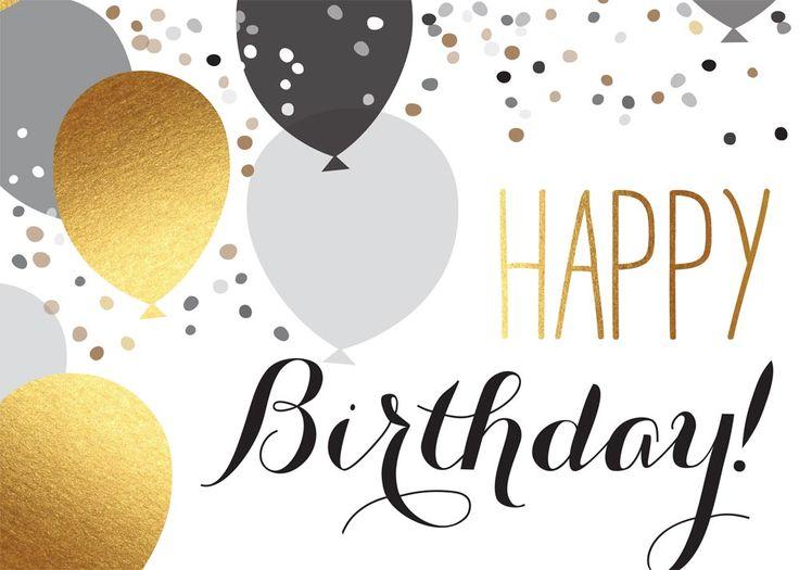 Happy Birthday elegant silver gold balloons.
