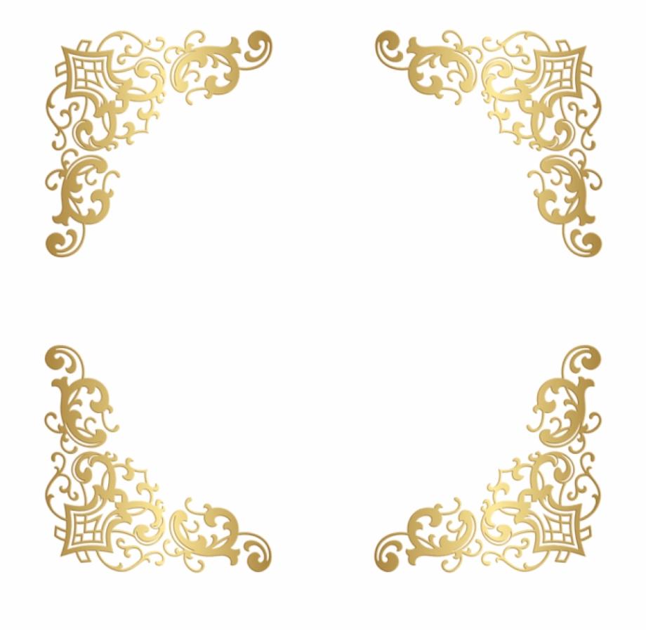 Free Png Download Gold Decorative Corners Transparent.
