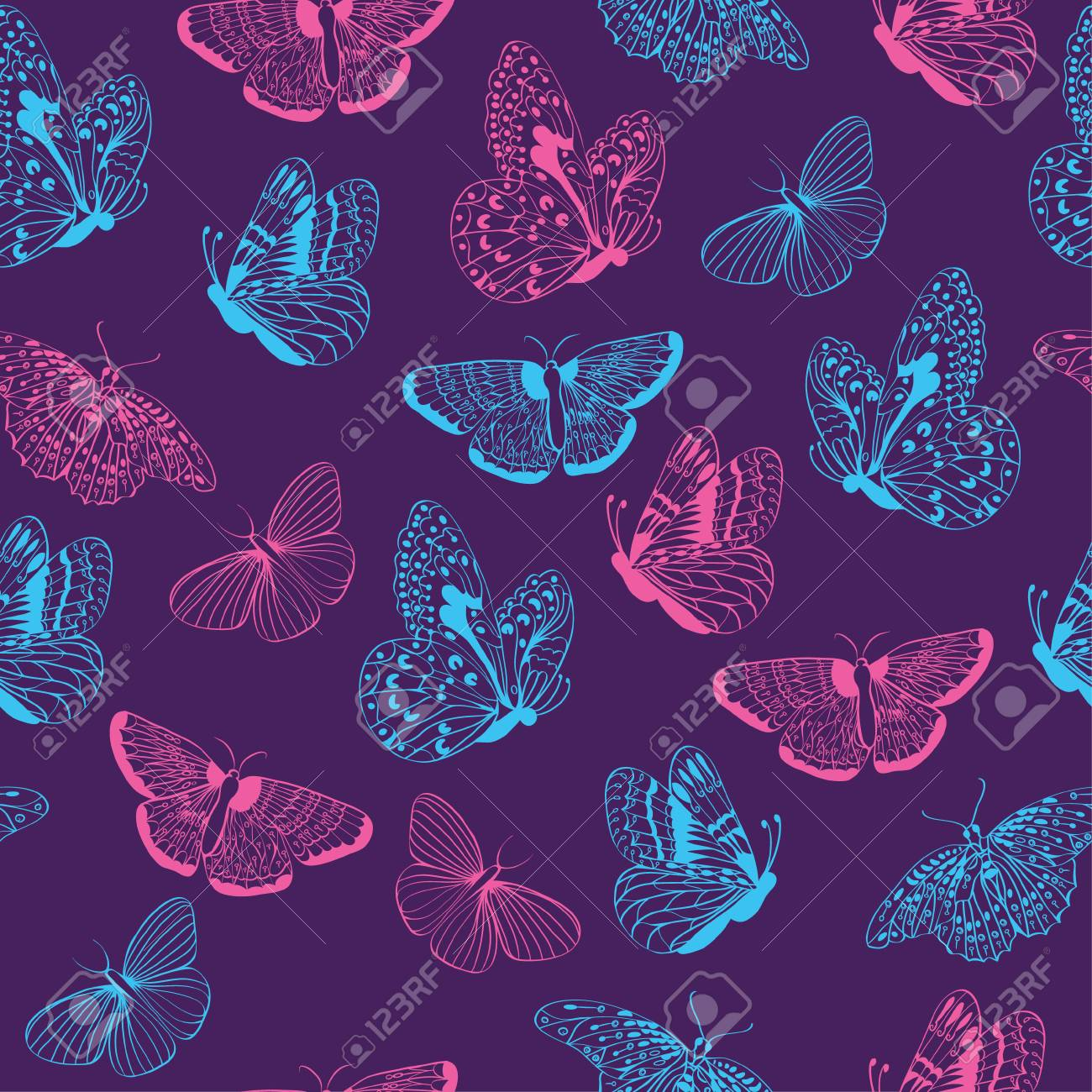 Pattern seamless of butterflies silhouettes. Elegant butterfly...