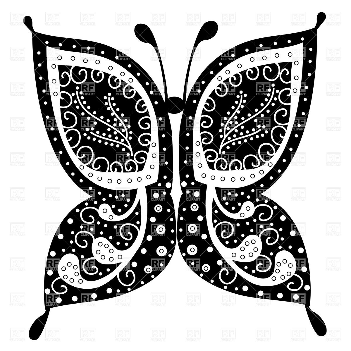 Elegant butterfly with ornate pattern on wings Stock Vector Image.