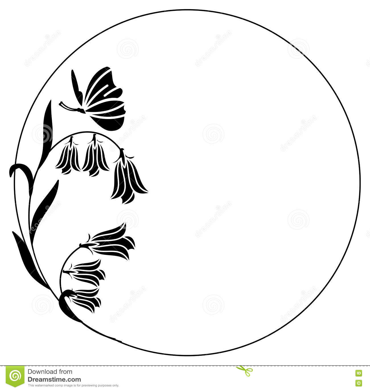 Elegant Round Frame With Bluebells And Butterfly. Stock Illustration.