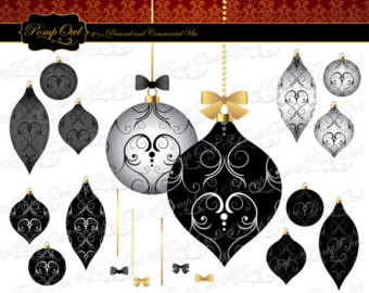 elegant christmas clipart black and white #11