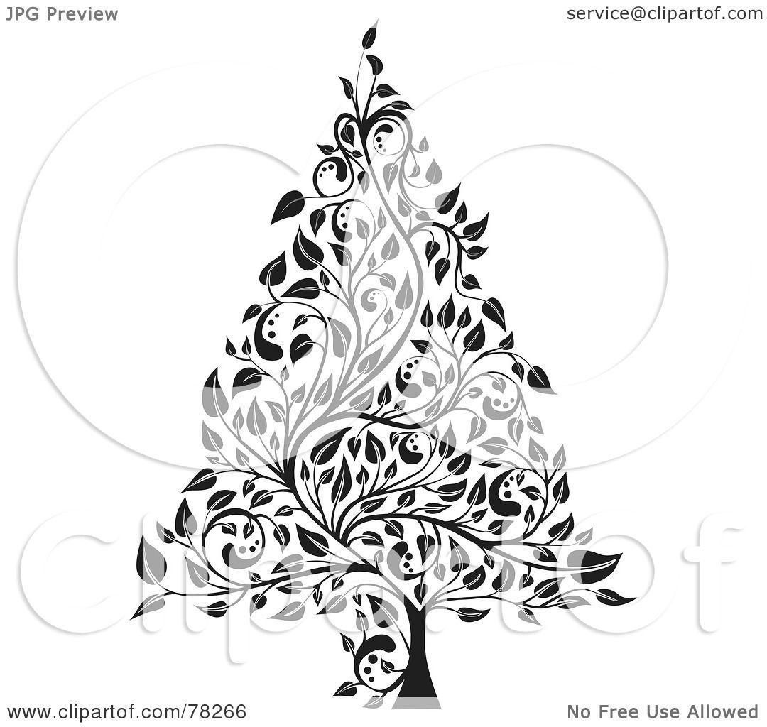 elegant christmas clipart black and white #5