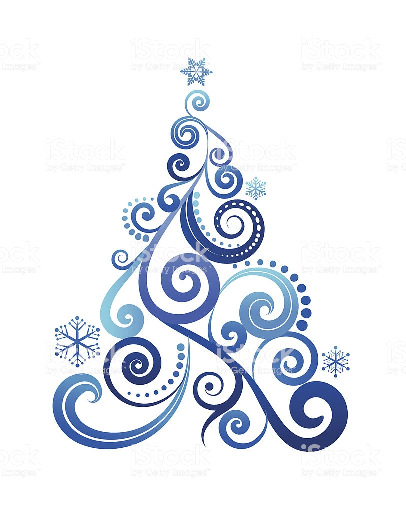 Elegant Xmas Tree Patter Stock Vector Art & More Images of Abstract.
